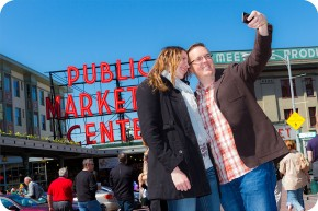 Engagement Photos Taken at Pike Place Market in Seattle