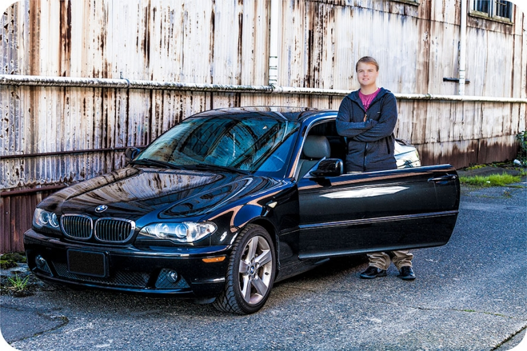 High School Senior Portraits with a Car in Everett