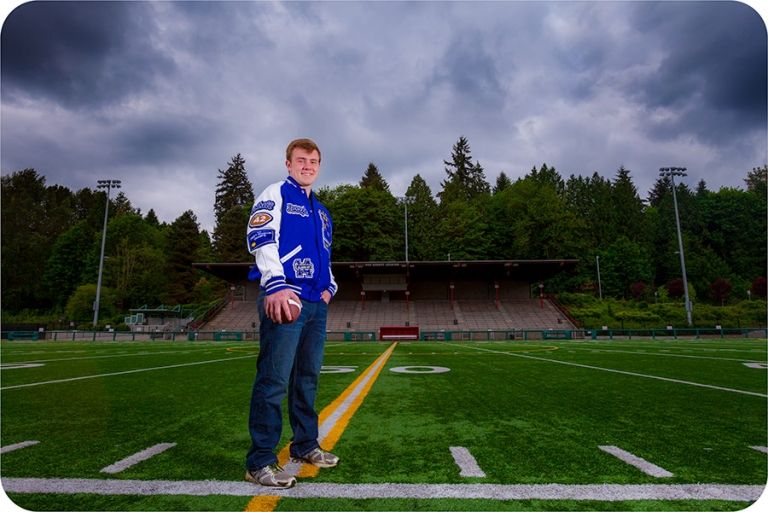 Football Senior Portraits in Bothell, Washington